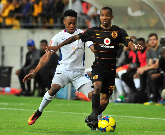 Joseph Molangoane of Kaizer Chiefs and Phetso Maphanga of Chippa United during the Absa Premiership 2017/18 game between Chippa United and Kaizer Chiefs at Nelson Mandela Bay Stadium in Port Elizabeth on 6 December 2017 © Deryck Foster/BackpagePix
