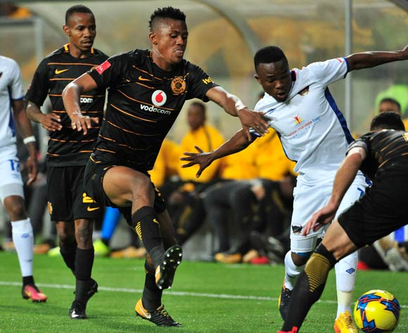 Phetso Maphanga of Chippa United and Siyabonga Ngezana of Kaizer Chiefs during the Absa Premiership 2017/18 game between Chippa United and Kaizer Chiefs at Nelson Mandela Bay Stadium in Port Elizabeth on 6 December 2017 © Deryck Foster/BackpagePix