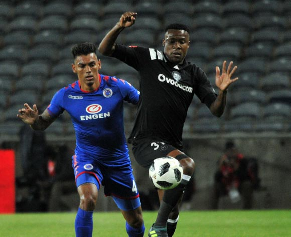 Thamsanqa Gabuza of Orlando Pirates challenged by Clayton Daniels of Supersport United during Absa Premiership 2017/18 match between Orlando Pirates and Supersport United at Orlando Stadium Johannesburg South Africa on 05 December 2017 ©Aubrey Kgakatsi/BackpagePix