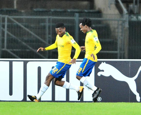 Motjeka Madisa celebrates scoring a penalty with Percy Tau of Mamelodi Sundowns during the Absa Premiership 2017/18 football match between Mamelodi Sundowns and Baroka FC at Lucas Moripe Stadium, Pretoria on 05 December 2017 ©Samuel Shivambu/BackpagePix