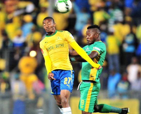 Thapelo Morena of Mamelodi Sundowns challenged by Lewis Macha of Baroka FC during the Absa Premiership 2017/18 football match between Mamelodi Sundowns and Baroka FC at Lucas Moripe Stadium, Pretoria on 05 December 2017 ©Samuel Shivambu/BackpagePix