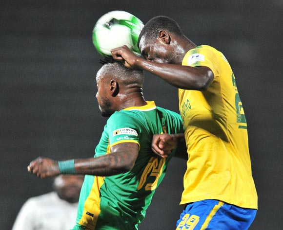 Lewis Macha of Baroka FC challenged by Soumahoro Bangaly of Mamelodi Sundowns during the Absa Premiership 2017/18 football match between Mamelodi Sundowns and Baroka FC at Lucas Moripe Stadium, Pretoria on 05 December 2017 ©Samuel Shivambu/BackpagePix