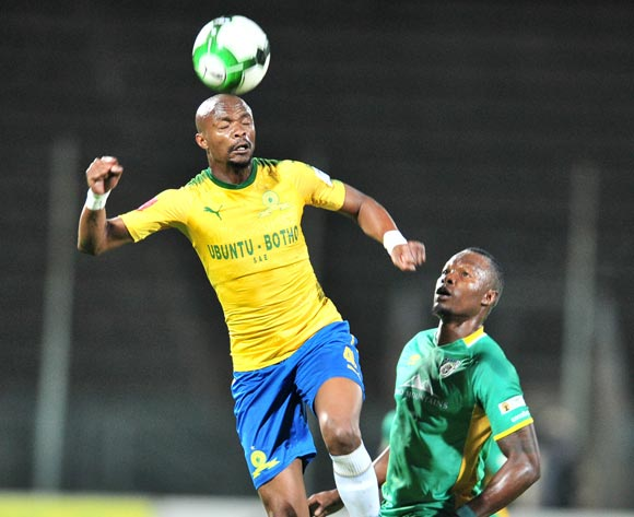 Tebogo Langerman of Mamelodi Sundowns challenged by Letladi Madubanya of Baroka FC during the Absa Premiership 2017/18 football match between Mamelodi Sundowns and Baroka FC at Lucas Moripe Stadium, Pretoria on 05 December 2017 ©Samuel Shivambu/BackpagePix