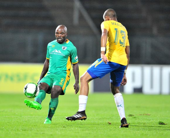 Matome Kgoetyane of Baroka FC challenged by Tiyani Mabunda of Mamelodi Sundowns during the Absa Premiership 2017/18 football match between Mamelodi Sundowns and Baroka FC at Lucas Moripe Stadium, Pretoria on 05 December 2017 ©Samuel Shivambu/BackpagePix