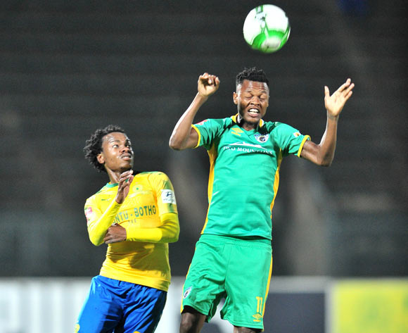 Richard Matloga of Baroka FC challenged by Percy Tau of Mamelodi Sundowns during the Absa Premiership 2017/18 football match between Mamelodi Sundowns and Baroka FC at Lucas Moripe Stadium, Pretoria on 05 December 2017 ©Samuel Shivambu/BackpagePix