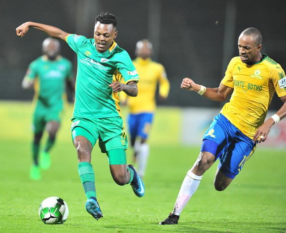 Richard Matloga of Baroka challenged by Tiyani Mabunda of Mamelodi Sundowns during the Absa Premiership 2017/18 football match between Mamelodi Sundowns and Baroka FC at Lucas Moripe Stadium, Pretoria on 05 December 2017 ©Samuel Shivambu/BackpagePix
