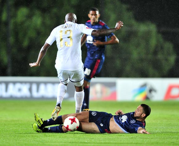 Sifiso Hlanti of Bidvest Wits tackled by Roscoe Pietersen of Ajax Cape Town during the Absa Premiership 2017/18 football match between Bidvest Wits and Ajax Cape Town at Bidvest Stadium, Johannesburg on 06 December 2017 ©Samuel Shivambu/BackpagePix