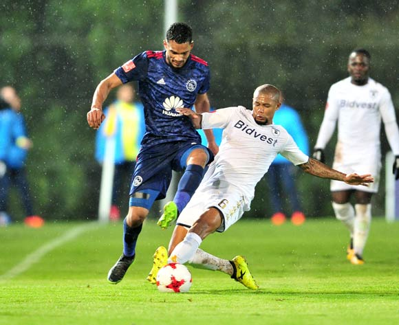 Tashreeq Morris of Ajax Cape Town challenged by Granwald Scott of Bidvest Wits during the Absa Premiership 2017/18 football match between Bidvest Wits and Ajax Cape Town at Bidvest Stadium, Johannesburg on 06 December 2017 ©Samuel Shivambu/BackpagePix