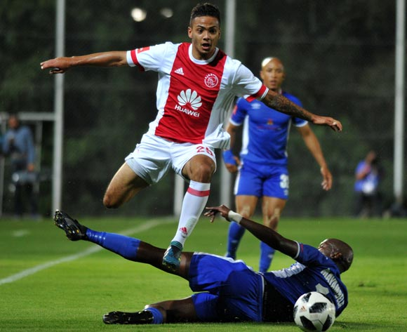 Sirgio Kammies of Ajax Cape Town challenged by Mark Mayambela of Chippa United during Absa Premiership 2017/18 match between Ajax Cape Town and Chippa United at Bidvest Stadium Johannesburg South Africa on 09 December 2017 ©Aubrey Kgakatsi/BackpagePix