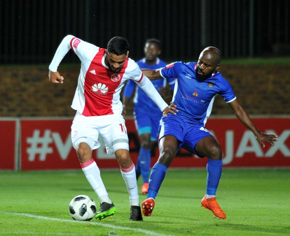 Tashreeq Morris of Ajax Cape Town challenged by Sandile Zuke of Chippa United during Absa Premiership 2017/18 match between Ajax Cape Town and Chippa United at Bidvest Stadium Johannesburg South Africa on 09 December 2017 ©Aubrey Kgakatsi/BackpagePix