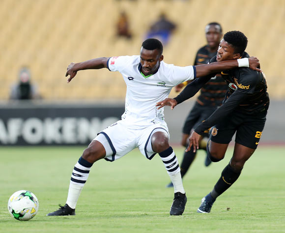 Siphiwe Mnguni of Platinum Stars shields Dumisani Zuma of Kaizer Chiefs during the Absa Premiership 2017/18 match between Platinum Stars and Kaizer Chiefs at Royal Bafokeng Stadium, Rustenburg South Africa on 09 December 2017 ©Muzi Ntombela/BackpagePix