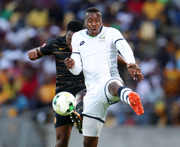 Bongi Ntuli of Platinum Stars challenged by Philani Zulu of Kaizer Chiefs during the Absa Premiership 2017/18 match between Platinum Stars and Kaizer Chiefs at Royal Bafokeng Stadium, Rustenburg South Africa on 09 December 2017 ©Muzi Ntombela/BackpagePix