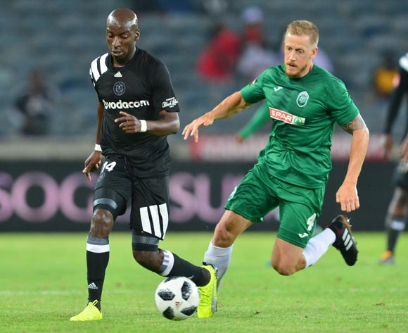 Musa Nyatama of Orlando Pirates challenged by Michael Morton of AmaZulu during the Absa Premiership 2017/18 football match between Orlando Pirates and AmaZulu at Orlando Stadium, Johannesburg on 09 December 2017 ©Samuel Shivambu/BackpagePix
