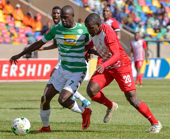 Deon Hotto of Bloemfontein Celtic and Katlego Mashego of Free State Stars during the Absa Premiership 2017/18 game between Bloemfontein Celtic and Free State Stars at Dr Molemela Stadium in Bloemfontein on 10 December 2017 © Frikkie Kapp/BackpagePix