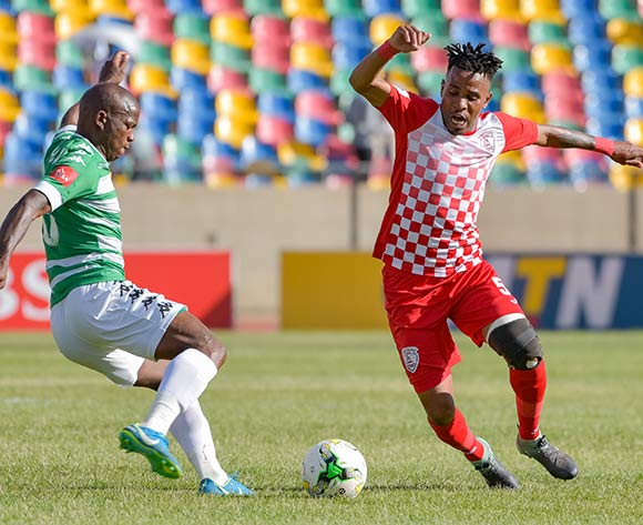 Nhlanhla Vilakazi of Free State Stars and Latshene Phalane of Bloemfontein Celtic during the Absa Premiership 2017/18 game between Bloemfontein Celtic and Free State Stars at Dr Molemela Stadium in Bloemfontein on 10 December 2017 © Frikkie Kapp/BackpagePix