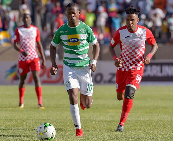 Ndumiso Mabena of Bloemfontein Celtic and Nhlanhla Vilakazi of Free State Stars during the Absa Premiership 2017/18 game between Bloemfontein Celtic and Free State Stars at Dr Molemela Stadium in Bloemfontein on 10 December 2017 © Frikkie Kapp/BackpagePix