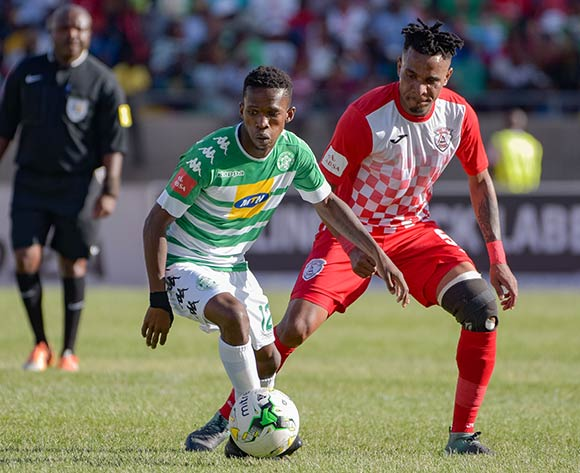 Kabelo Mahlasela of Bloemfontein Celtic and Nhlanhla Vilakazi of Free State Stars during the Absa Premiership 2017/18 game between Bloemfontein Celtic and Free State Stars at Dr Molemela Stadium in Bloemfontein on 10 December 2017 © Frikkie Kapp/BackpagePix