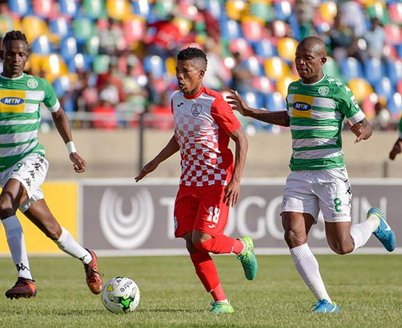 Tebogo Potsane of Free State Stars and Ronald Pfumbizai(L) and Latshene Phalane of Bloemfontein Celtic during the Absa Premiership 2017/18 game between Bloemfontein Celtic and Free State Stars at Dr Molemela Stadium in Bloemfontein on 10 December 2017 © Frikkie Kapp/BackpagePix