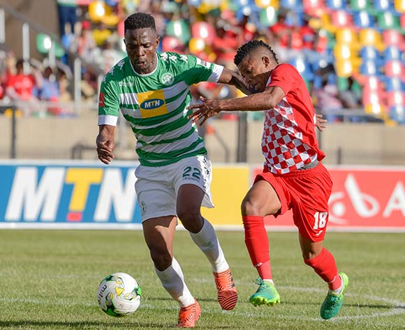 Tshepo Rikhotso of Bloemfontein Celtic and Tebogo Potsane of Free State Stars during the Absa Premiership 2017/18 game between Bloemfontein Celtic and Free State Stars at Dr Molemela Stadium in Bloemfontein on 10 December 2017 © Frikkie Kapp/BackpagePix