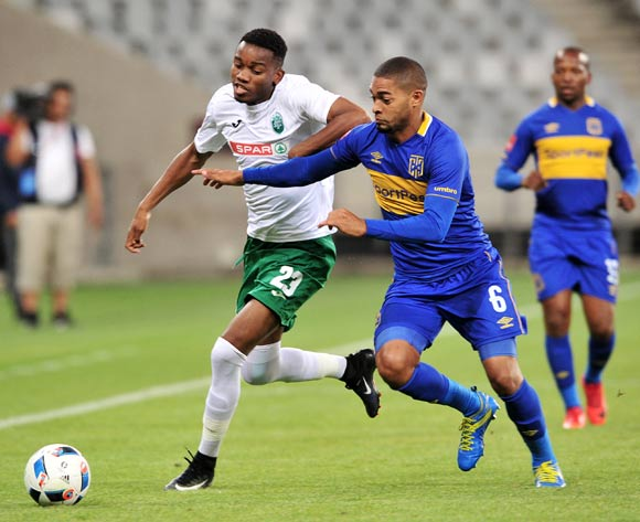 Ovidy Karuru of AmaZulu takes on Ebrahim Seedat of Cape Town City during the Absa Premiership 2017/18 game between Cape Town City and AmaZulu at Cape Town Stadium on 15 December 2017 © Ryan Wilkisky/BackpagePix