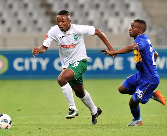 Butholezwe Ncube of AmaZulu takes on Thabo Nodada of Cape Town City during the Absa Premiership 2017/18 game between Cape Town City and AmaZulu at Cape Town Stadium on 15 December 2017 © Ryan Wilkisky/BackpagePix