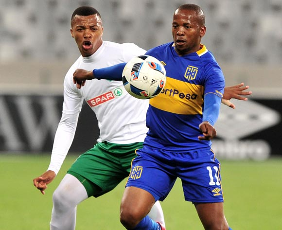 Aubrey Ngoma of Cape Town City controls ahead of Thembela Sikhakhane of AmaZulu during the Absa Premiership 2017/18 game between Cape Town City and AmaZulu at Cape Town Stadium on 15 December 2017 © Ryan Wilkisky/BackpagePix