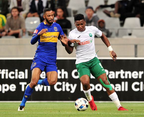 Mhlengi Cele of AmaZulu takes on Taariq Fielies of Cape Town City during the Absa Premiership 2017/18 game between Cape Town City and AmaZulu at Cape Town Stadium on 15 December 2017 © Ryan Wilkisky/BackpagePix