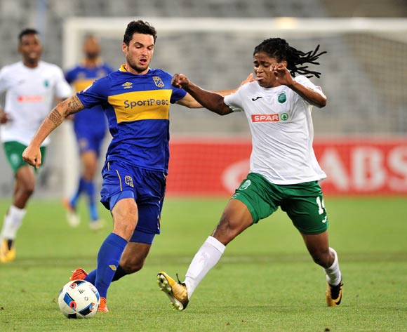 Roland Putsche of Cape Town City gets his pass away as he is challenged by Siyethemba Mnguni of AmaZulu during the Absa Premiership 2017/18 game between Cape Town City and AmaZulu at Cape Town Stadium on 15 December 2017 © Ryan Wilkisky/BackpagePix