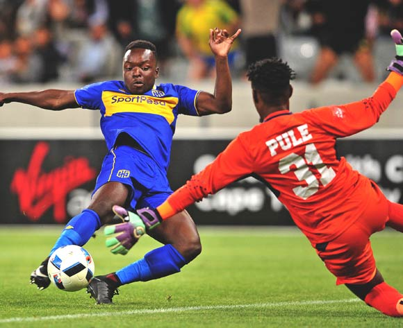 Nana Akosah-Bempah of Cape Town City shoots at goal as Boalefa Pule of AmaZulu closes him down during the Absa Premiership 2017/18 game between Cape Town City and AmaZulu at Cape Town Stadium on 15 December 2017 © Ryan Wilkisky/BackpagePix
