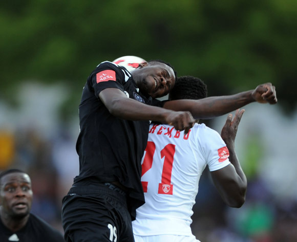 Justice Chabalala of Orlando Pirates challenges Siphelele Mthembu of Free State Stars players  during the Absa Premiership match between Free State Stars and Orlando Pirates on 16 December 2017 at Goble Park Stadium Pic Sydney Mahlangu/BackpagePix