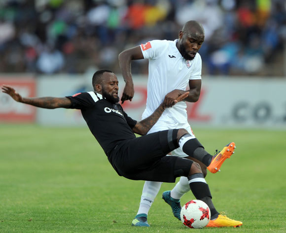 Mpho Makola of Orlando Pirates is challenged by Makhehleni Makhaula of Free State Stars players  during the Absa Premiership match between Free State Stars and Orlando Pirates on 16 December 2017 at Goble Park Stadium Pic Sydney Mahlangu/BackpagePix