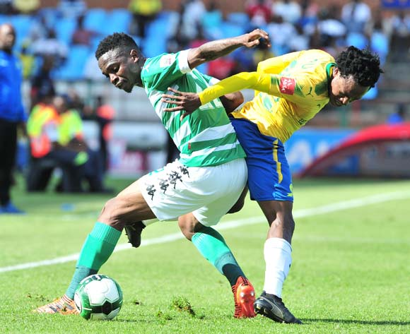 Tshepo Rikhotso of Bloemfontein Celtic challenged by Percy Tau of Mamelodi Sundowns during the Absa Premiership 2017/18 football match between Mamelodi Sundowns and Bloemfontein Celtic at Loftus Stadium, Pretoria on 16 December 2017 ©Samuel Shivambu/BackpagePix