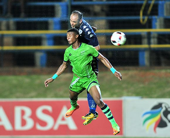 Sibusiso Mthethwa of Platinum Stars challenged by Eleazar Rodgers of Bidvest Wits during the Absa Premiership 2017/18 football match between Bidvest Wits and Platinum Stars at Bidvest Stadium, Johannesburg on 16 December 2017 ©Samuel Shivambu/BackpagePix
