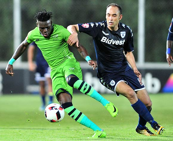 Siyabonga Zulu of Platinum Stars challenged by Eleazar Rodgers of Bidvest Wits during the Absa Premiership 2017/18 football match between Bidvest Wits and Platinum Stars at Bidvest Stadium, Johannesburg on 16 December 2017 ©Samuel Shivambu/BackpagePix