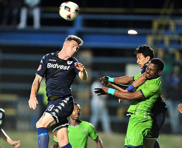 James Keene of Bidvest Wits challenged by Enocent Mkhabela of Platinum Stars during the Absa Premiership 2017/18 football match between Bidvest Wits and Platinum Stars at Bidvest Stadium, Johannesburg on 16 December 2017 ©Samuel Shivambu/BackpagePix