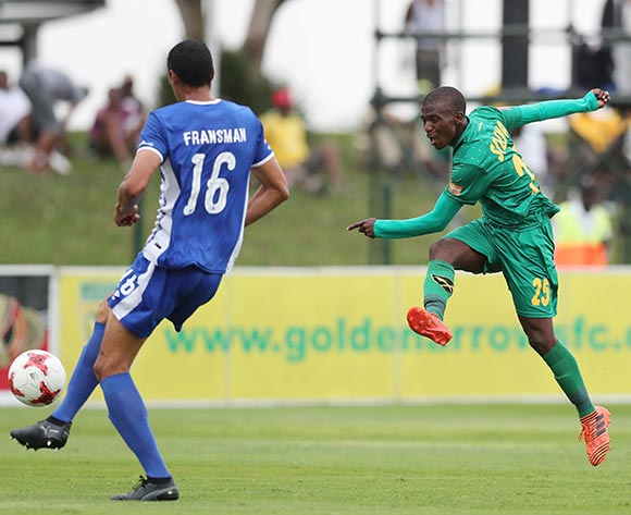 Nduduzo Sibiya of Golden Arrows fires shot past defender Bevan Fransman of Maritzburg United during the 2017/18 Absa Premiership football match between Golden Arrows and Maritzburg United at Princess Magogo Stadium, Durban on 17 December 2017 ©Gavin Barker/BackpagePix