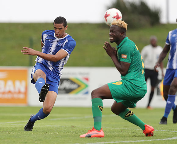 Bevan Fransman of Maritzburg United clears ball from Knox Mutizwa of Golden Arrows during the 2017/18 Absa Premiership football match between Golden Arrows and Maritzburg United at Princess Magogo Stadium, Durban on 17 December 2017 ©Gavin Barker/BackpagePix