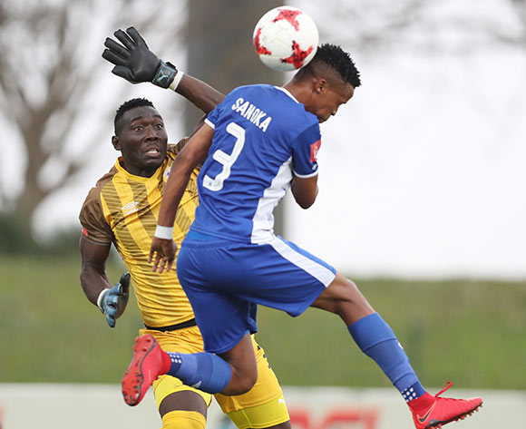 Richard Ofori punches clear of teammate Pogiso Sanoka of Maritzburg United during the 2017/18 Absa Premiership football match between Golden Arrows and Maritzburg United at Princess Magogo Stadium, Durban on 17 December 2017 ©Gavin Barker/BackpagePix