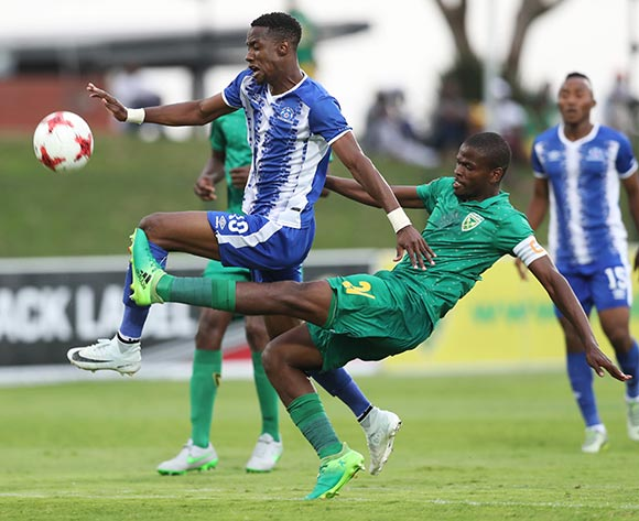 Nkanyiso Mngwengwe of Golden Arrows tackles Evans Rusike of Maritzburg United during the 2017/18 Absa Premiership football match between Golden Arrows and Maritzburg United at Princess Magogo Stadium, Durban on 17 December 2017 ©Gavin Barker/BackpagePix