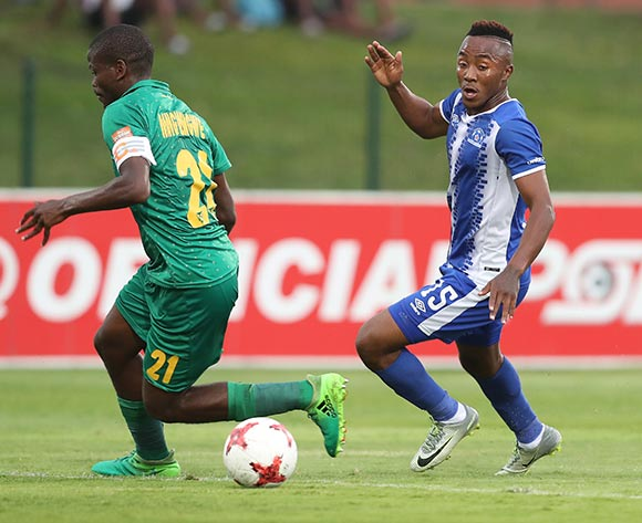 Lebohang Maboe of Maritzburg United evades tackle from Nkanyiso Mngwengwe of Golden Arrows during the 2017/18 Absa Premiership football match between Golden Arrows and Maritzburg United at Princess Magogo Stadium, Durban on 17 December 2017 ©Gavin Barker/BackpagePix