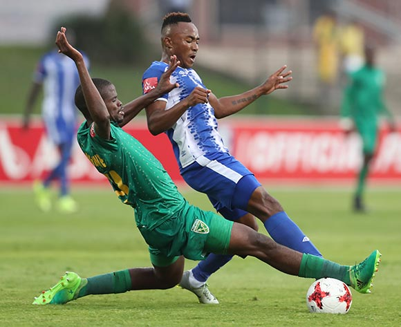 Lebohang Maboe of Maritzburg United tackled by Nkanyiso Mngwengwe of Golden Arrows during the 2017/18 Absa Premiership football match between Golden Arrows and Maritzburg United at Princess Magogo Stadium, Durban on 17 December 2017 ©Gavin Barker/BackpagePix