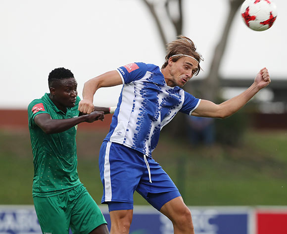 Andrea Fileccia of Maritzburg United wins header against Zolani Nkombelo of Golden Arrows during the 2017/18 Absa Premiership football match between Golden Arrows and Maritzburg United at Princess Magogo Stadium, Durban on 17 December 2017 ©Gavin Barker/BackpagePix