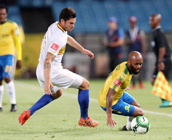 Oupa Manyisa of Mamelodi Sundowns fouled by Roland Putsche of Cape Town City during the Absa Premiership 2017/18 match between Mamelodi Sundowns and Cape Town City at Loftus Versveld Stadium, Pretoria South Africa on 19 December 2017 ©Muzi Ntombela/BackpagePix