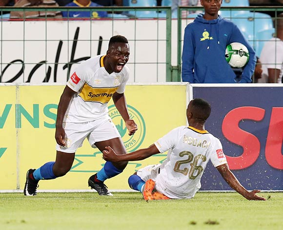 Nana Akosah-Bempah celebrates goal with teammate Thabo Nodada of Cape Town City during the Absa Premiership 2017/18 match between Mamelodi Sundowns and Cape Town City at Loftus Versveld Stadium, Pretoria South Africa on 19 December 2017 ©Muzi Ntombela/BackpagePix