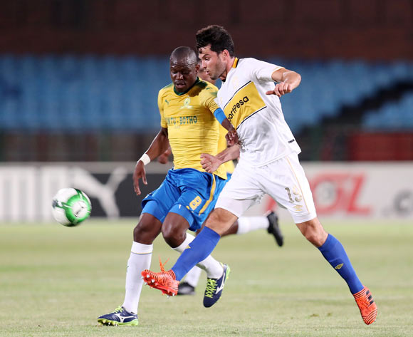 Roland Putsche of Cape Town City challenged by Hlompho Kekana of Mamelodi Sundowns during the Absa Premiership 2017/18 match between Mamelodi Sundowns and Cape Town City at Loftus Versveld Stadium, Pretoria South Africa on 19 December 2017 ©Muzi Ntombela/BackpagePix