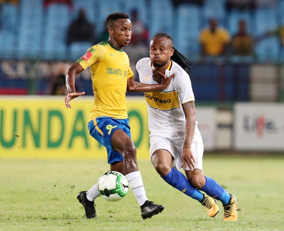 Edmilson Dove of Cape Town City challenged by Themba Zwane of Mamelodi Sundowns during the Absa Premiership 2017/18 match between Mamelodi Sundowns and Cape Town City at Loftus Versveld Stadium, Pretoria South Africa on 19 December 2017 ©Muzi Ntombela/BackpagePix