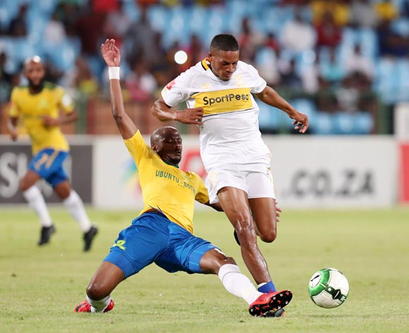 Graig Martin of Cape Town City tackled by Tebogo Langerman of Mamelodi Sundowns during the Absa Premiership 2017/18 match between Mamelodi Sundowns and Cape Town City at Loftus Versveld Stadium, Pretoria South Africa on 19 December 2017 ©Muzi Ntombela/BackpagePix