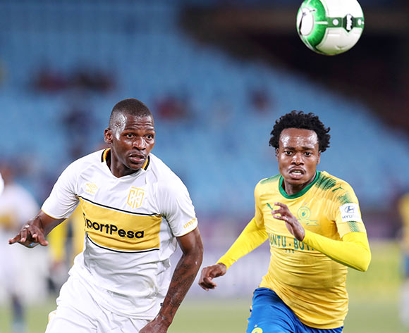 Thamsanqa Mkhize of Cape Town City challenged by Percy Tau of Mamelodi Sundowns during the Absa Premiership 2017/18 match between Mamelodi Sundowns and Cape Town City at Loftus Versveld Stadium, Pretoria South Africa on 19 December 2017 ©Muzi Ntombela/BackpagePix