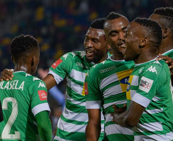 Victor Letsoalo of Bloemfontein Celtic celebrating with team mates during the Absa Premiership 2017/18 game between Bloemfontein Celtic and SuperSport United at Dr Molemela Stadium in Bloemfontein on 20 December 2017 © Frikkie Kapp/BackpagePix