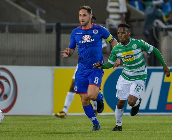 Kabelo Mahlasela of Bloemfontein Celtic and Dean Furman of SuperSport United during the Absa Premiership 2017/18 game between Bloemfontein Celtic and SuperSport United at Dr Molemela Stadium in Bloemfontein on 20 December 2017 © Frikkie Kapp/BackpagePix